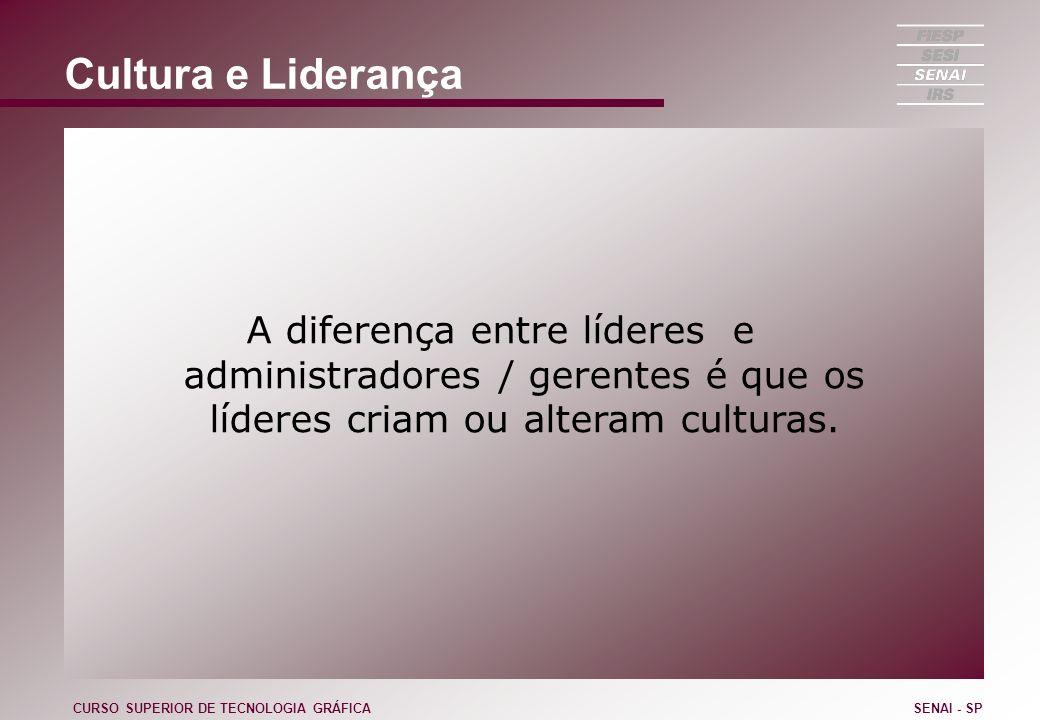 Cultura e Liderança A diferença entre líderes e administradores / gerentes é que os líderes criam ou alteram culturas. CURSO SUPERIOR DE TECNOLOGIA GR