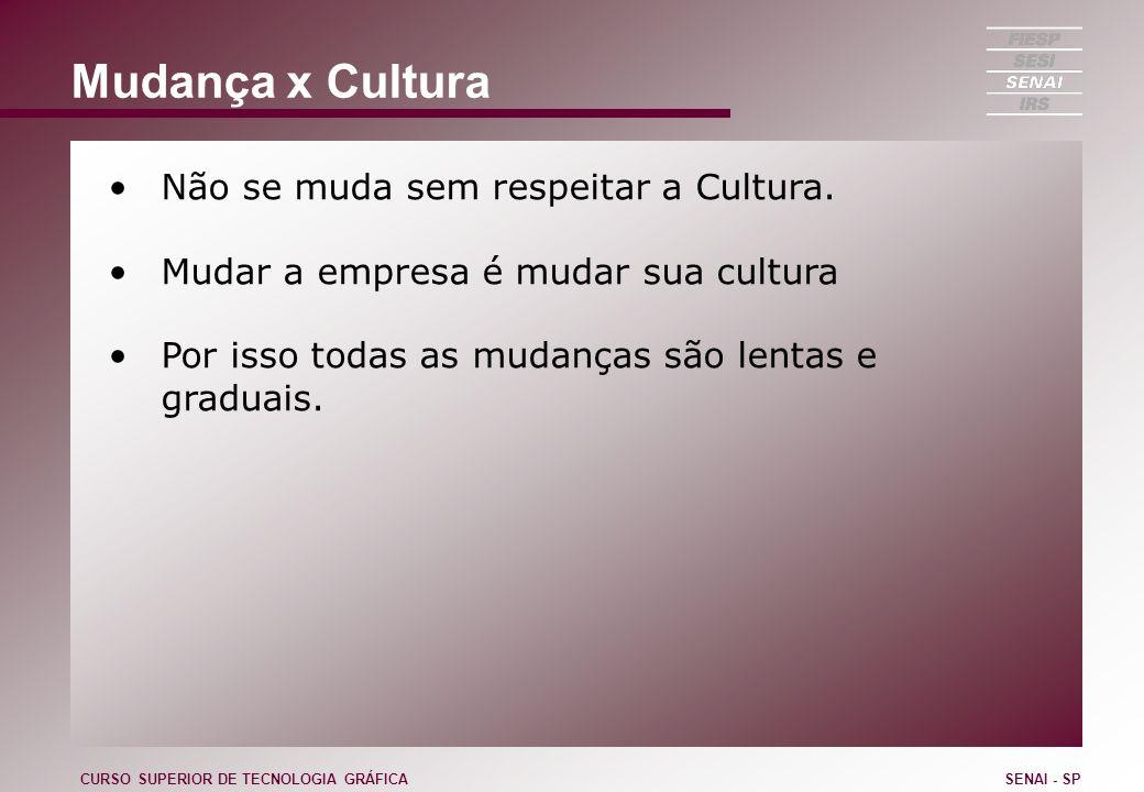 Mudança x Cultura Não se muda sem respeitar a Cultura. Mudar a empresa é mudar sua cultura Por isso todas as mudanças são lentas e graduais. CURSO SUP