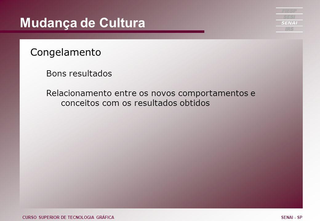 Mudança de Cultura Congelamento Bons resultados Relacionamento entre os novos comportamentos e conceitos com os resultados obtidos CURSO SUPERIOR DE T