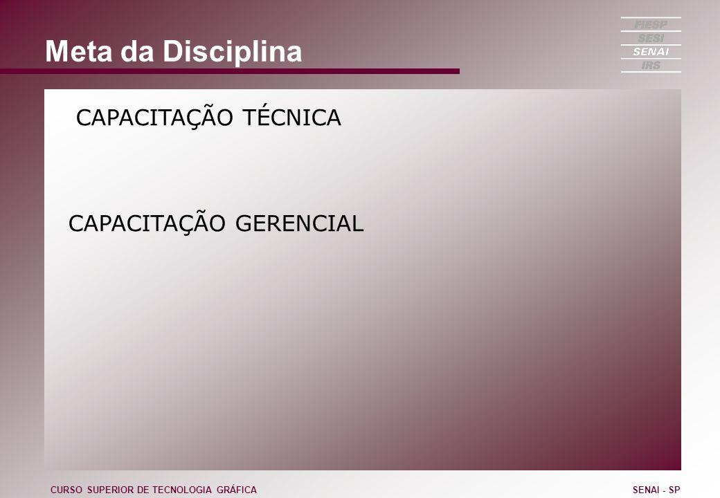Composição da Empresa Estratégia Planejamento Estratégico Competências / Conhecimentos Gestão do Conhecimento Modelo de Gestão Estrutura CURSO SUPERIOR DE TECNOLOGIA GRÁFICASENAI - SP