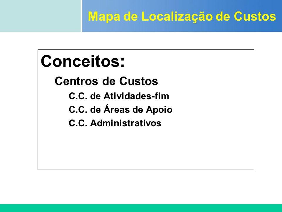 Certificada ISO 9002 Conceitos: Centros de Custos C.C. de Atividades-fim C.C. de Áreas de Apoio C.C. Administrativos Mapa de Localização de Custos
