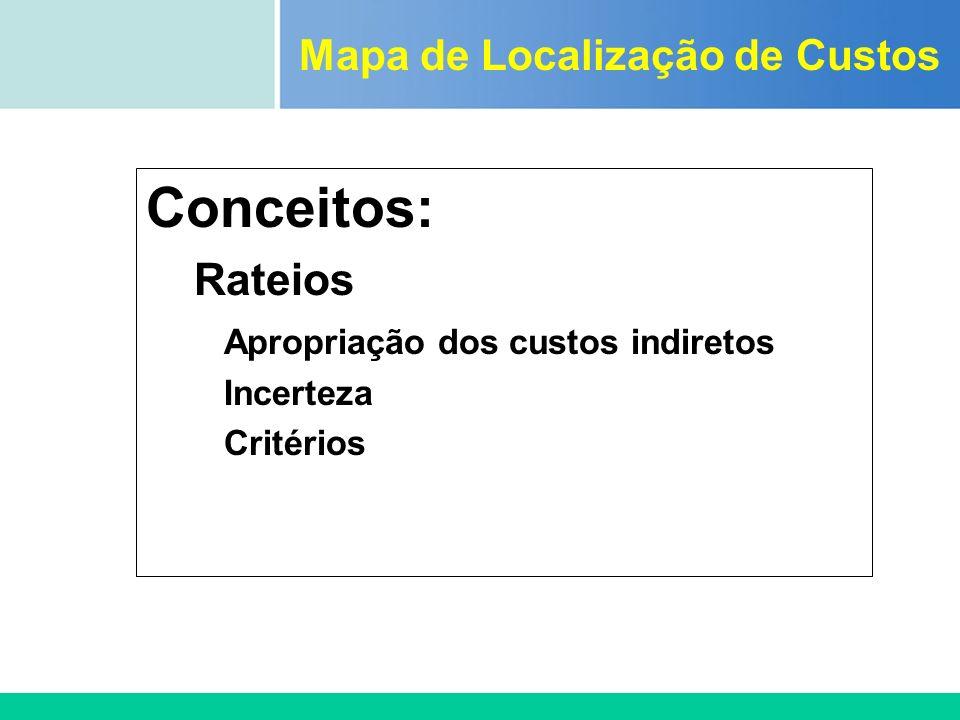 Certificada ISO 9002 Conceitos: Rateios Apropriação dos custos indiretos Incerteza Critérios Mapa de Localização de Custos