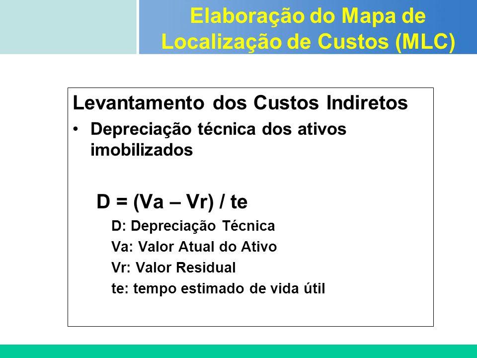 Certificada ISO 9002 Levantamento dos Custos Indiretos Depreciação técnica dos ativos imobilizados D = (Va – Vr) / te D: Depreciação Técnica Va: Valor