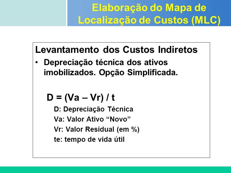 Certificada ISO 9002 Levantamento dos Custos Indiretos Depreciação técnica dos ativos imobilizados. Opção Simplificada. D = (Va – Vr) / t D: Depreciaç