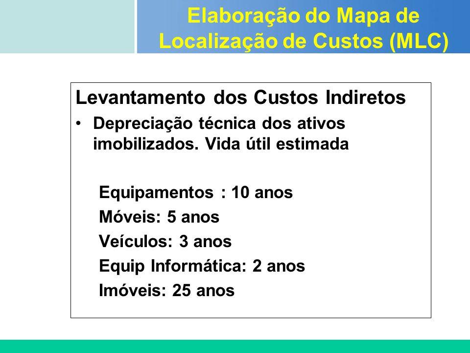 Certificada ISO 9002 Levantamento dos Custos Indiretos Depreciação técnica dos ativos imobilizados. Vida útil estimada Equipamentos : 10 anos Móveis: