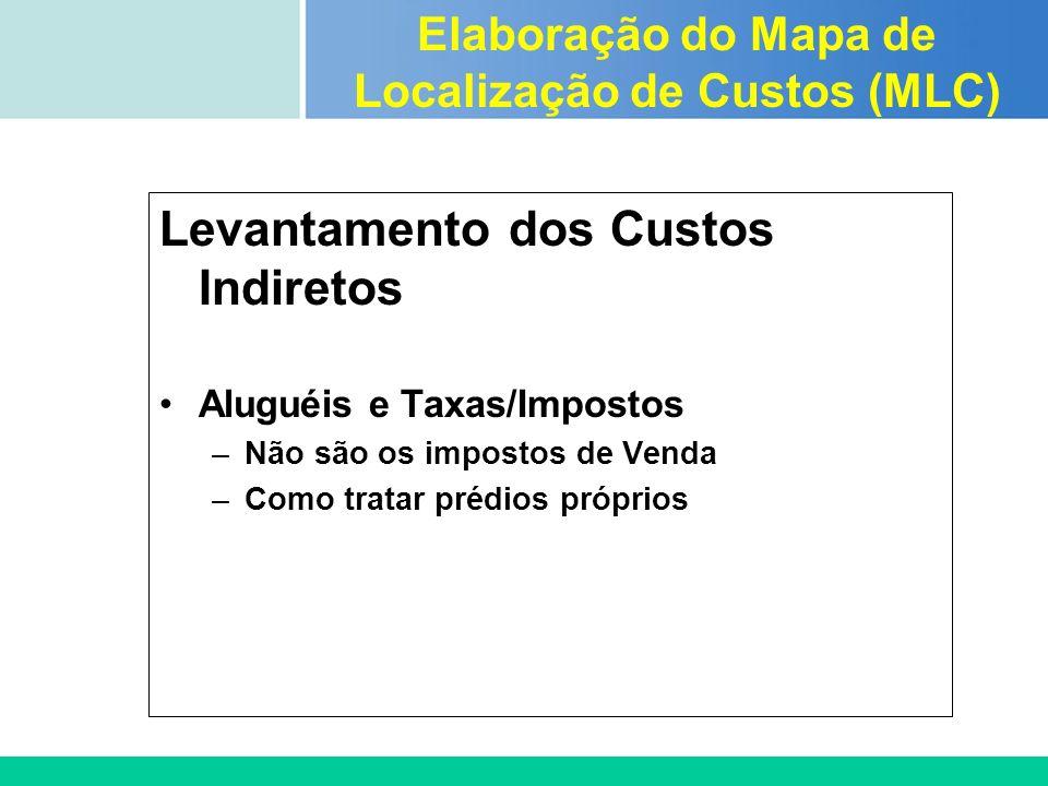 Certificada ISO 9002 Levantamento dos Custos Indiretos Aluguéis e Taxas/Impostos –Não são os impostos de Venda –Como tratar prédios próprios Elaboraçã