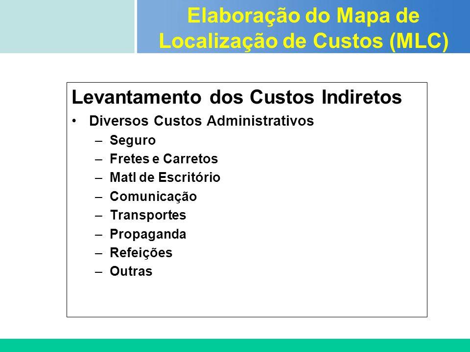 Certificada ISO 9002 Levantamento dos Custos Indiretos Diversos Custos Administrativos –Seguro –Fretes e Carretos –Matl de Escritório –Comunicação –Tr