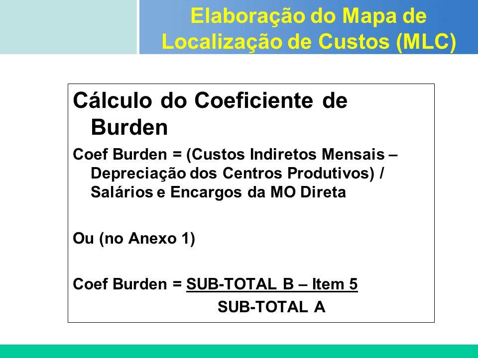 Certificada ISO 9002 Cálculo do Coeficiente de Burden Coef Burden = (Custos Indiretos Mensais – Depreciação dos Centros Produtivos) / Salários e Encar