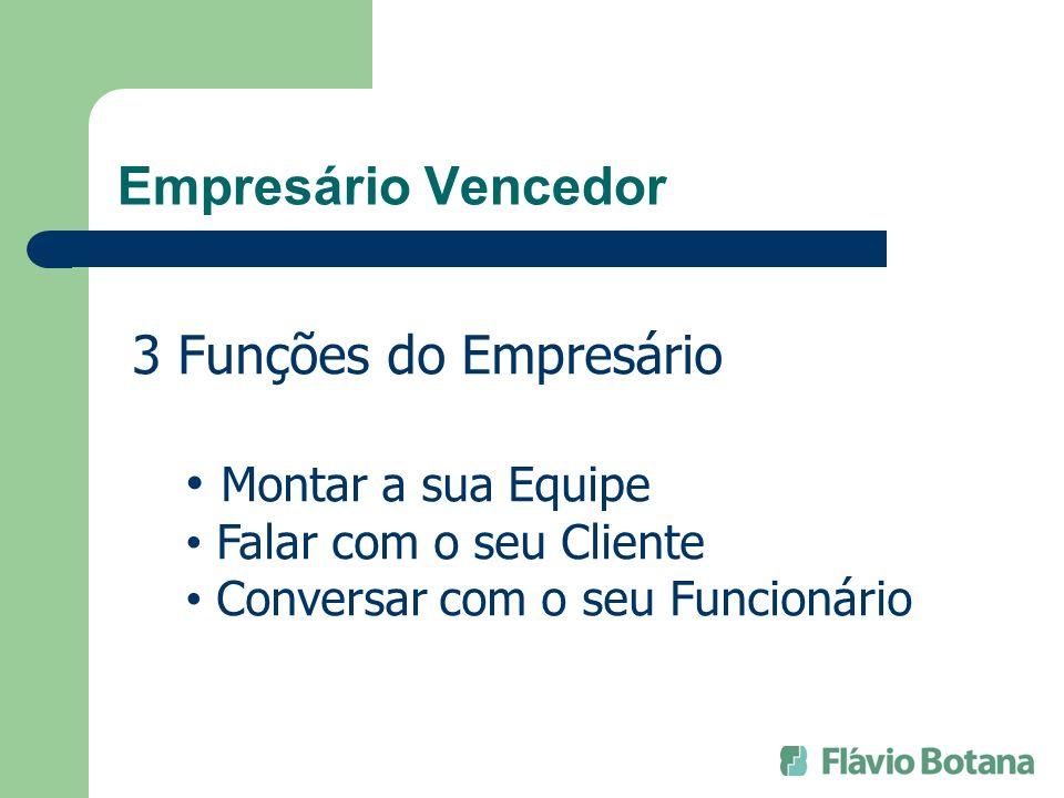 Empresário Vencedor 3 Funções do Empresário Montar a sua Equipe Falar com o seu Cliente Conversar com o seu Funcionário