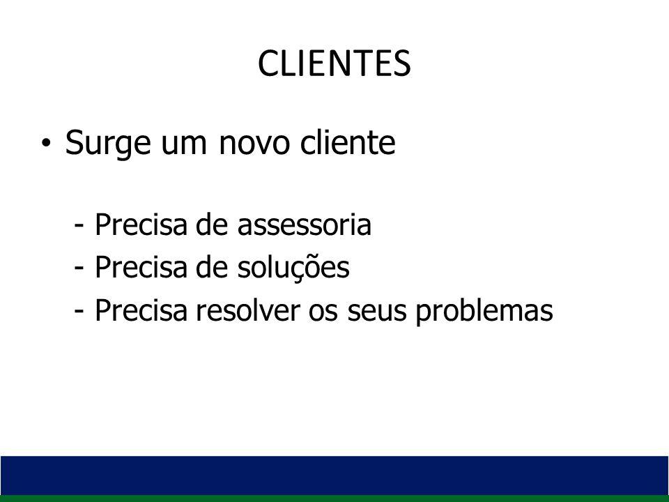 CLIENTES Surge um novo cliente -Precisa de assessoria -Precisa de soluções -Precisa resolver os seus problemas