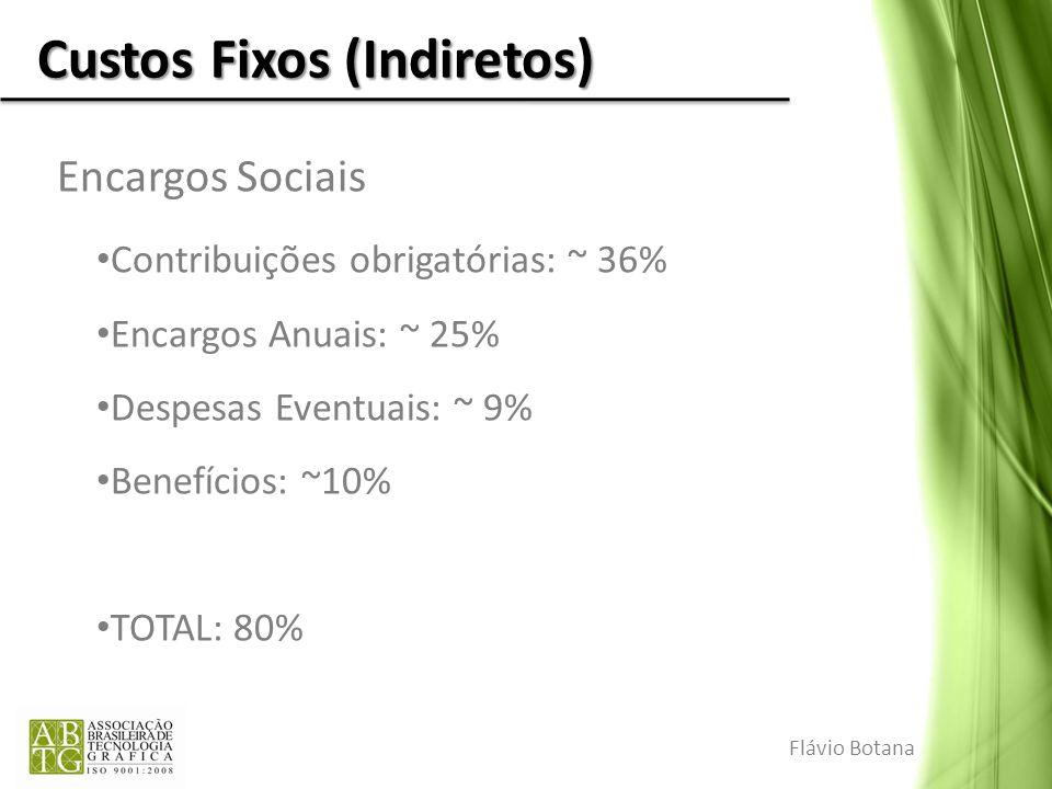 Custos Fixos (Indiretos) Encargos Sociais Contribuições obrigatórias: ~ 36% Encargos Anuais: ~ 25% Despesas Eventuais: ~ 9% Benefícios: ~10% TOTAL: 80