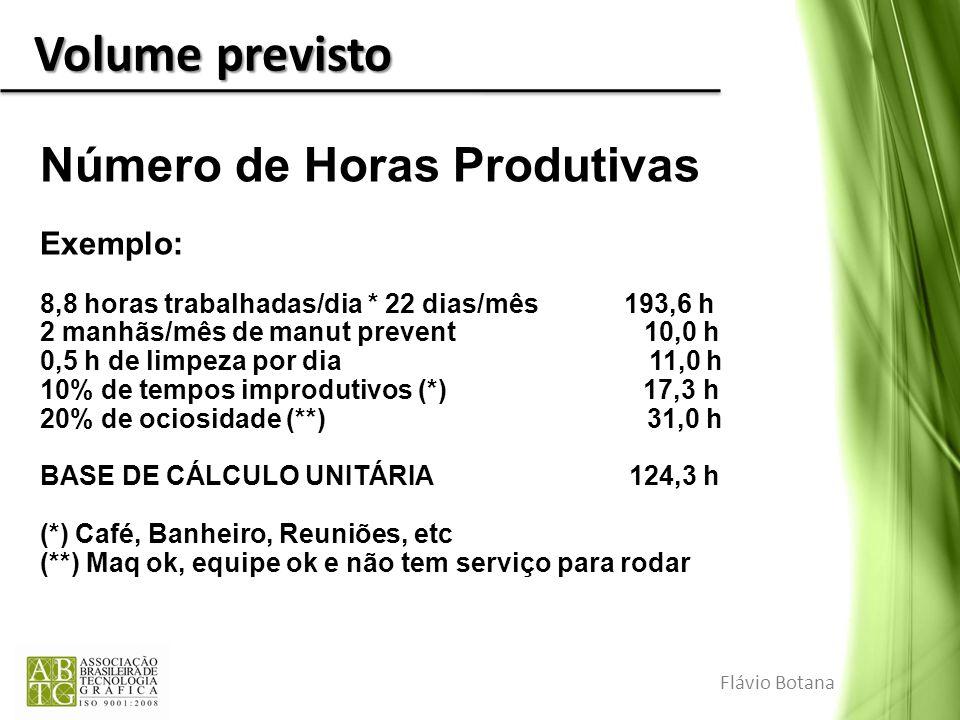 Volume previsto Número de Horas Produtivas Exemplo: 8,8 horas trabalhadas/dia * 22 dias/mês 193,6 h 2 manhãs/mês de manut prevent 10,0 h 0,5 h de limp