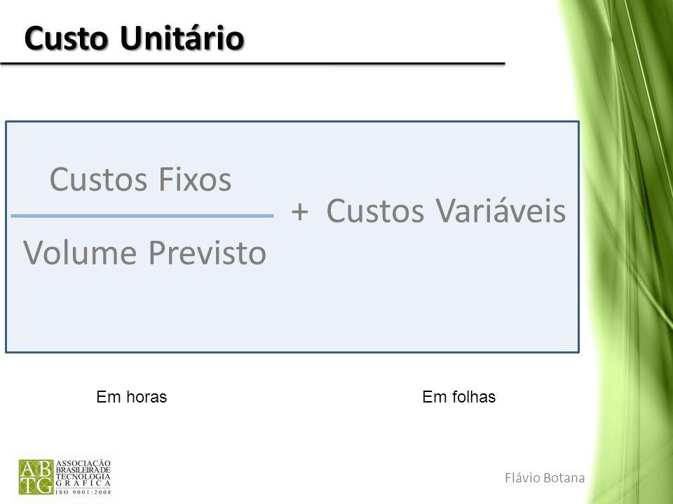Custo Unitário Flávio Botana Custos Fixos Volume Previsto + Custos Variáveis Em horasEm folhas