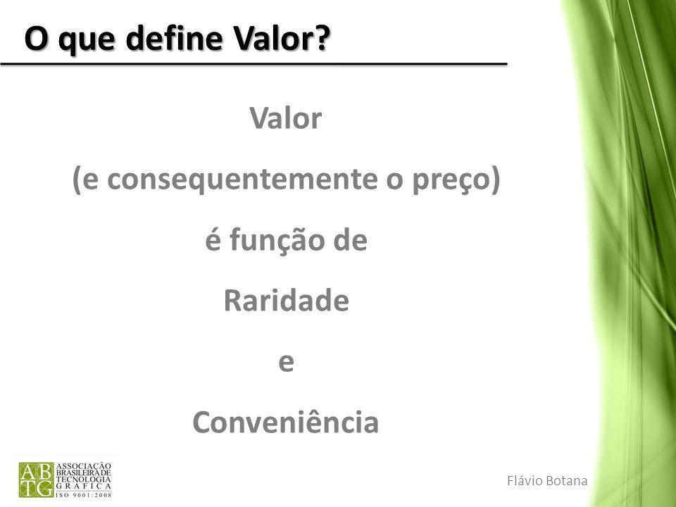 O que define Valor? Valor (e consequentemente o preço) é função de Raridade e Conveniência Flávio Botana