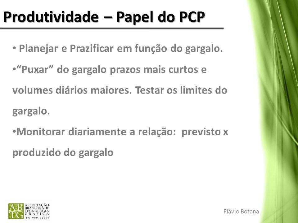 Produtividade – Papel do PCP Planejar e Prazificar em função do gargalo. Puxar do gargalo prazos mais curtos e volumes diários maiores. Testar os limi