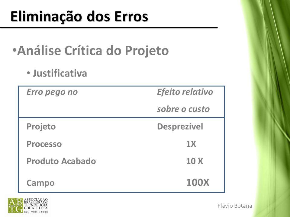 Eliminação dos Erros Análise Crítica do Projeto Justificativa Erro pego noEfeito relativo sobre o custo ProjetoDesprezível Processo1X Produto Acabado1