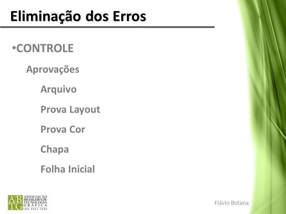 Eliminação dos Erros CONTROLE Aprovações Arquivo Prova Layout Prova Cor Chapa Folha Inicial Flávio Botana