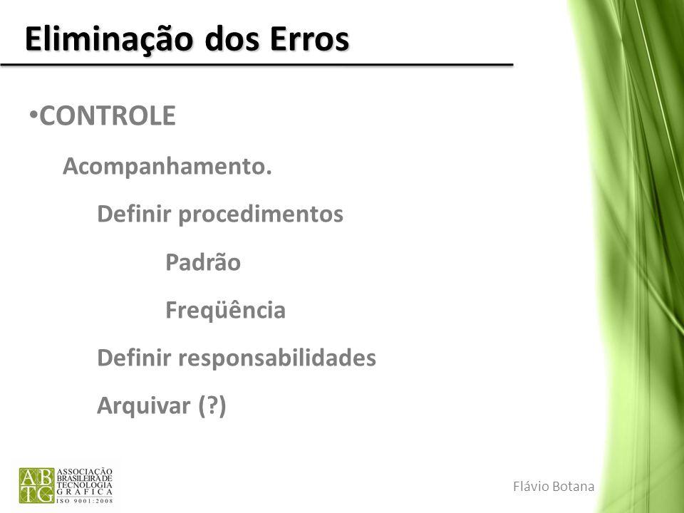 Eliminação dos Erros CONTROLE Acompanhamento. Definir procedimentos Padrão Freqüência Definir responsabilidades Arquivar (?) Flávio Botana