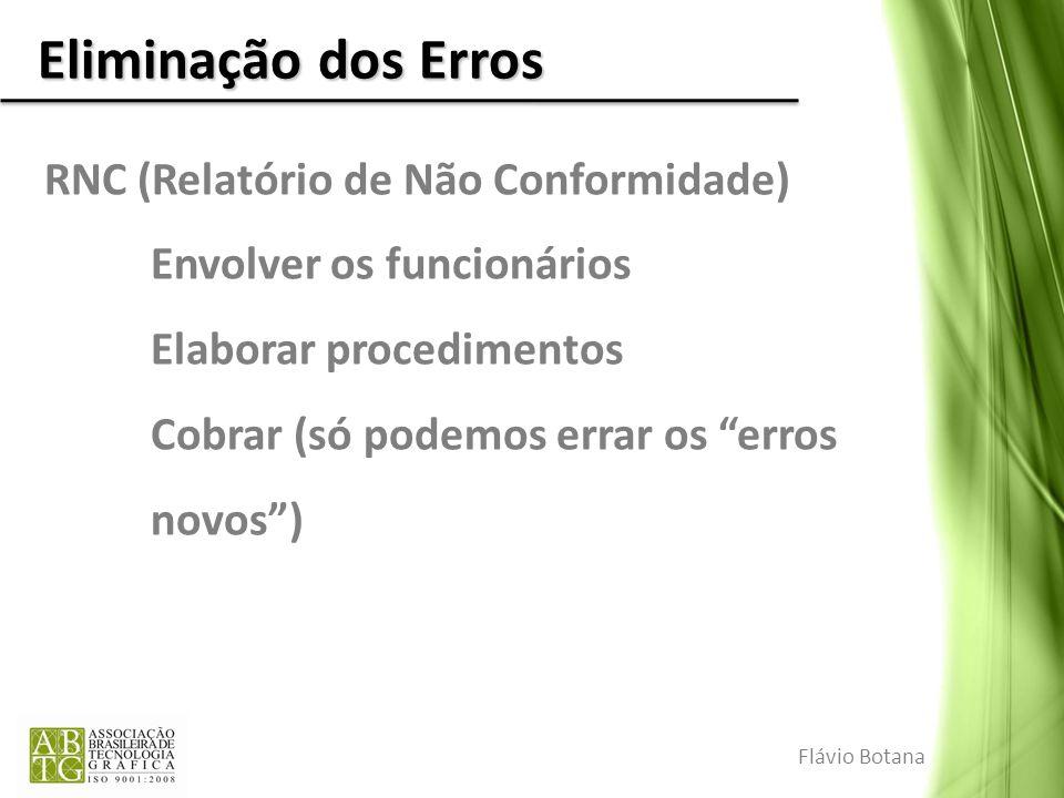 Eliminação dos Erros RNC (Relatório de Não Conformidade) Envolver os funcionários Elaborar procedimentos Cobrar (só podemos errar os erros novos) Fláv