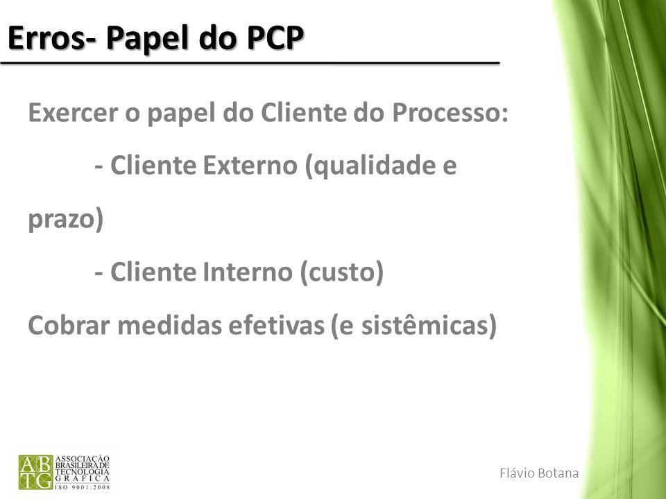 Erros- Papel do PCP Exercer o papel do Cliente do Processo: - Cliente Externo (qualidade e prazo) - Cliente Interno (custo) Cobrar medidas efetivas (e