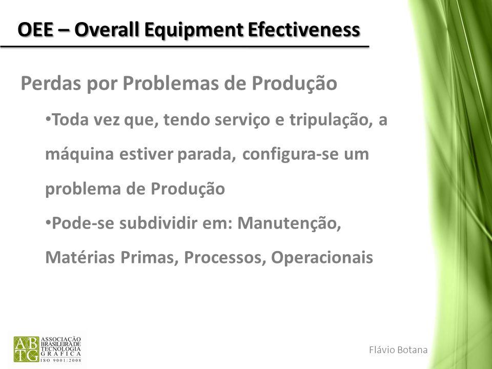 OEE – Overall Equipment Efectiveness Perdas por Problemas de Produção Toda vez que, tendo serviço e tripulação, a máquina estiver parada, configura-se