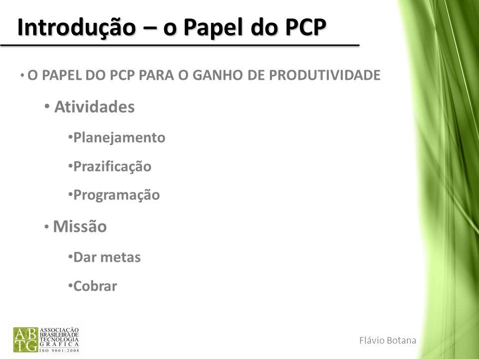 Introdução – o Papel do PCP O PAPEL DO PCP PARA O GANHO DE PRODUTIVIDADE Atividades Planejamento Prazificação Programação Missão Dar metas Cobrar Fláv