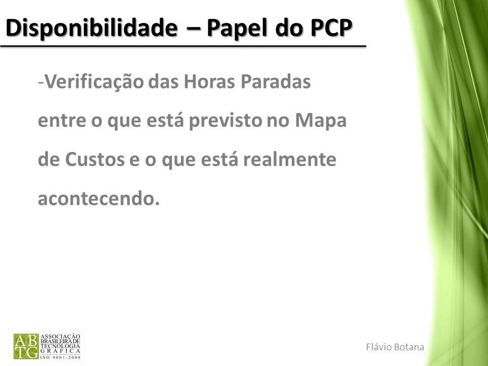Disponibilidade – Papel do PCP Flávio Botana -Verificação das Horas Paradas entre o que está previsto no Mapa de Custos e o que está realmente acontec