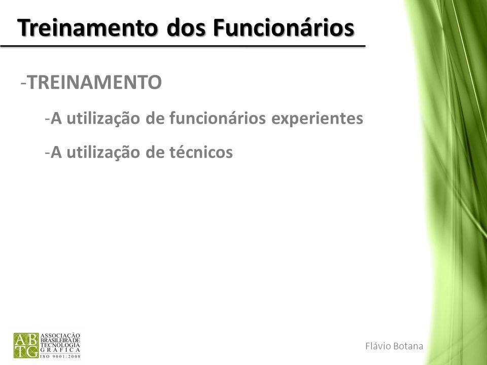 Treinamento dos Funcionários -TREINAMENTO -A utilização de funcionários experientes -A utilização de técnicos Flávio Botana