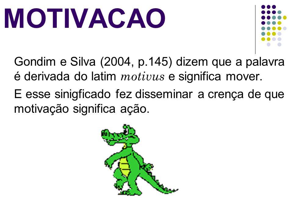 MOTIVACAO Gondim e Silva (2004, p.145) dizem que a palavra é derivada do latim motivus e significa mover. E esse sinigficado fez disseminar a crença d