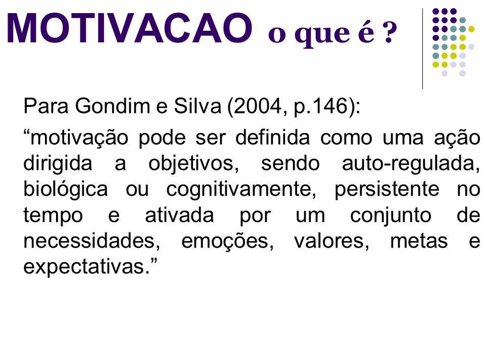 MOTIVACAO o que é ? Para Gondim e Silva (2004, p.146): motivação pode ser definida como uma ação dirigida a objetivos, sendo auto-regulada, biológica