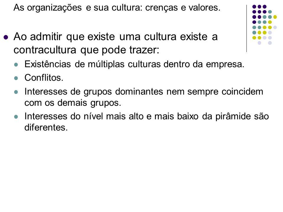 As organizações e sua cultura: crenças e valores. Ao admitir que existe uma cultura existe a contracultura que pode trazer: Existências de múltiplas c