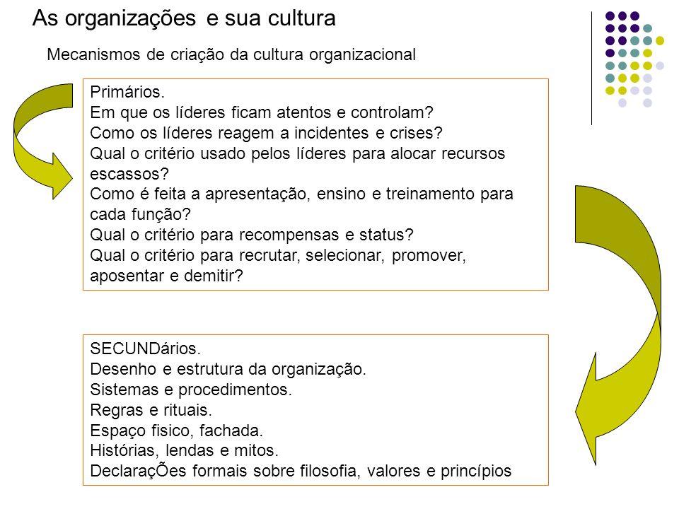 As organizações e sua cultura Mecanismos de criação da cultura organizacional Primários. Em que os líderes ficam atentos e controlam? Como os líderes