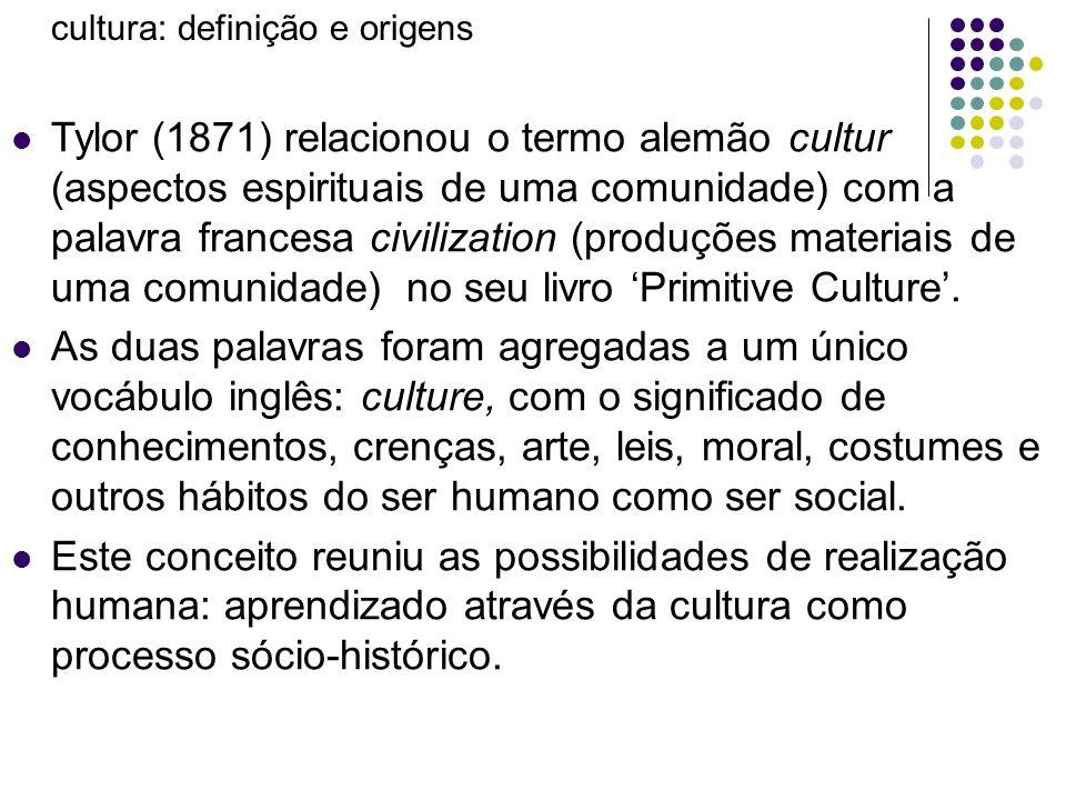 cultura: definição e origens Tylor (1871) relacionou o termo alemão cultur (aspectos espirituais de uma comunidade) com a palavra francesa civilizatio