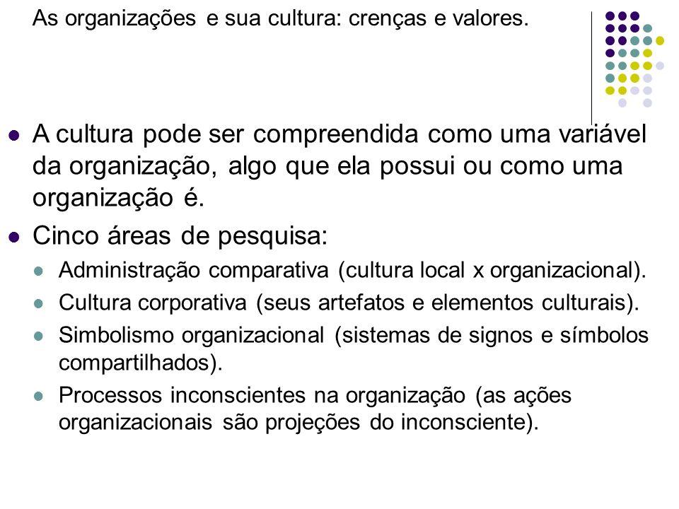 As organizações e sua cultura: crenças e valores. A cultura pode ser compreendida como uma variável da organização, algo que ela possui ou como uma or