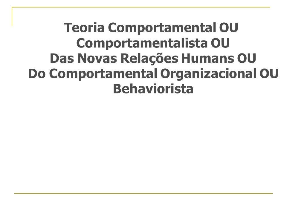 Teoria Comportamental OU Comportamentalista OU Das Novas Relações Humans OU Do Comportamental Organizacional OU Behaviorista