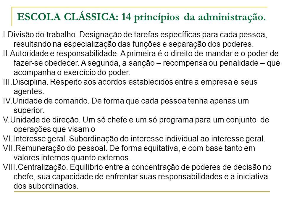 ESCOLA CLÁSSICA: 14 princípios da administração. I.Divisão do trabalho. Designação de tarefas específicas para cada pessoa, resultando na especializaç