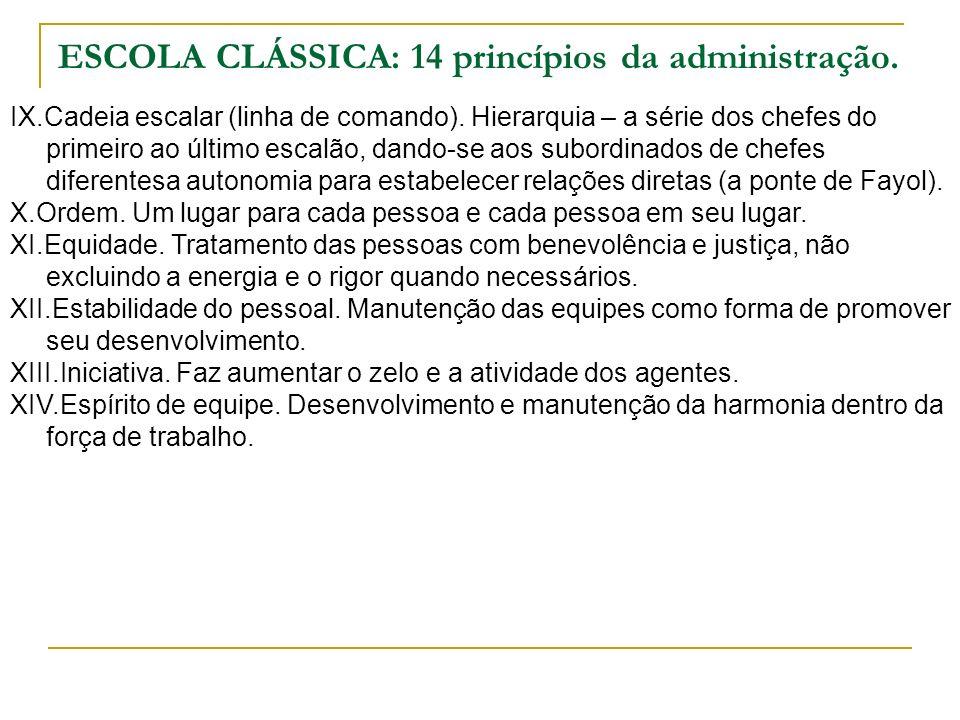 ESCOLA CLÁSSICA: 14 princípios da administração. IX.Cadeia escalar (linha de comando). Hierarquia – a série dos chefes do primeiro ao último escalão,