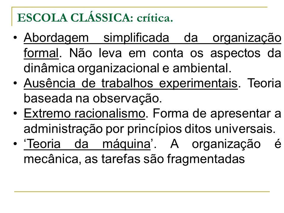 ESCOLA CLÁSSICA: crítica. Abordagem simplificada da organização formal. Não leva em conta os aspectos da dinâmica organizacional e ambiental. Ausência