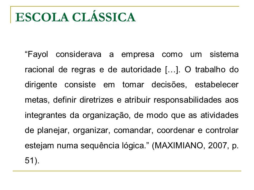 Fayol considerava a empresa como um sistema racional de regras e de autoridade […]. O trabalho do dirigente consiste em tomar decisões, estabelecer me
