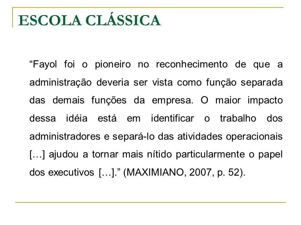 Fayol foi o pioneiro no reconhecimento de que a administração deveria ser vista como função separada das demais funções da empresa. O maior impacto de