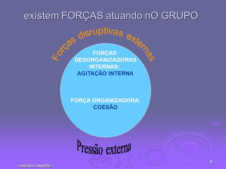 BÁRBARA GUIMARÃES 8 existem FORÇAS atuando nO GRUPO FORÇAS DESORGANIZADORAS INTERNAS: AGITAÇÃO INTERNA FORÇA ORGANIZADORA: COESÃO