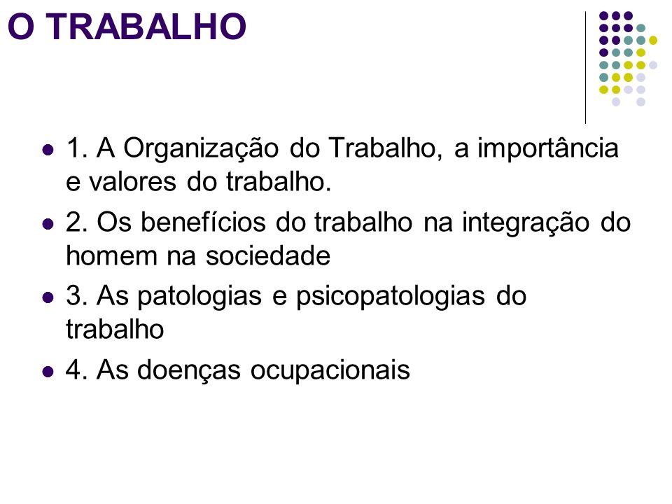 O TRABALHO 1. A Organização do Trabalho, a importância e valores do trabalho. 2. Os benefícios do trabalho na integração do homem na sociedade 3. As p