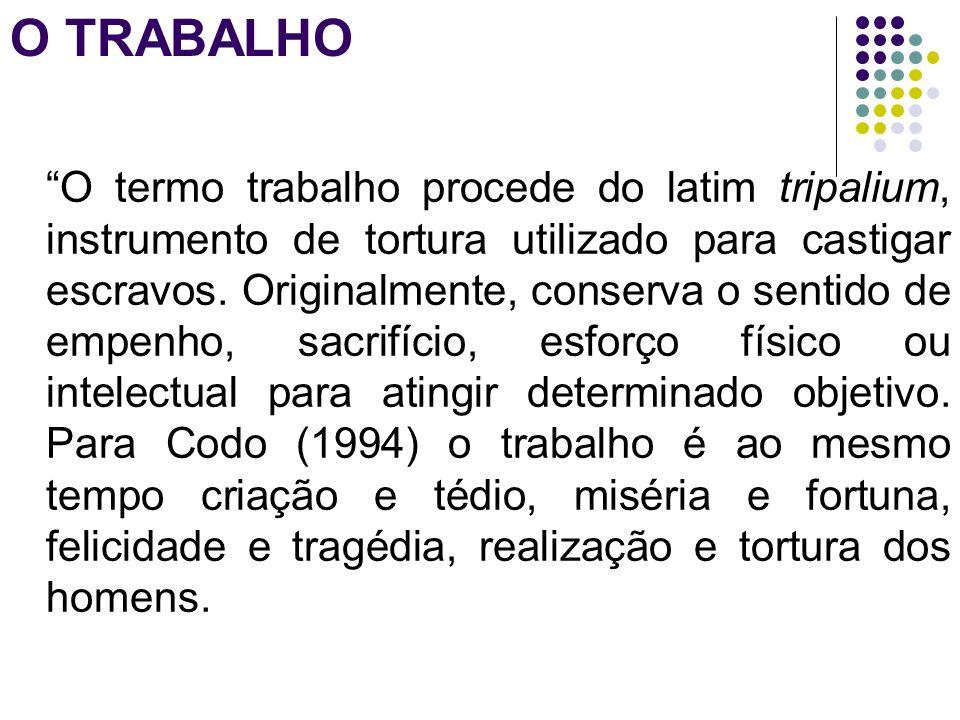 O TRABALHO O termo trabalho procede do latim tripalium, instrumento de tortura utilizado para castigar escravos. Originalmente, conserva o sentido de