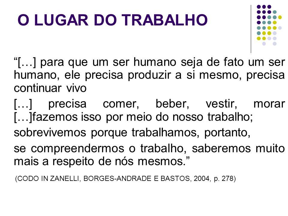 O LUGAR DO TRABALHO […] como as coisas migram de um objeto natural para um objeto humano (social).
