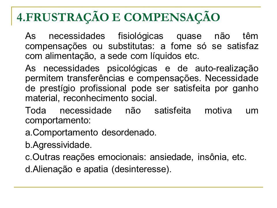 4.FRUSTRAÇÃO E COMPENSAÇÃO As necessidades fisiológicas quase não têm compensações ou substitutas: a fome só se satisfaz com alimentação, a sede com l