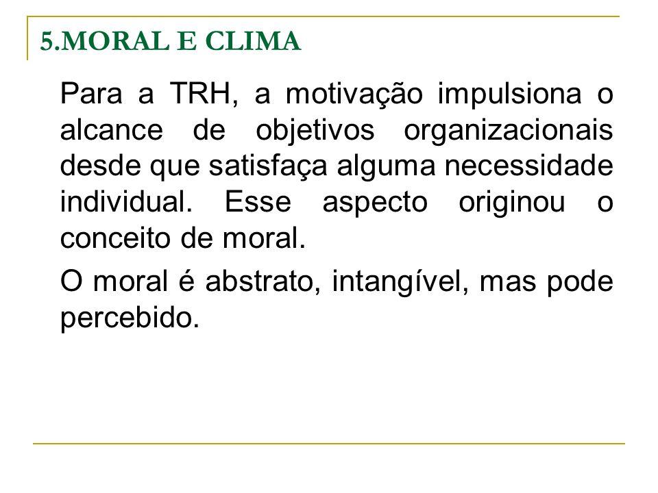 5.MORAL E CLIMA Para a TRH, a motivação impulsiona o alcance de objetivos organizacionais desde que satisfaça alguma necessidade individual. Esse aspe