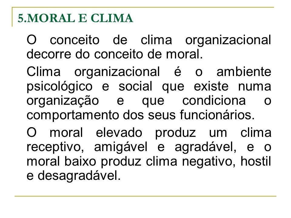 5.MORAL E CLIMA O conceito de clima organizacional decorre do conceito de moral. Clima organizacional é o ambiente psicológico e social que existe num