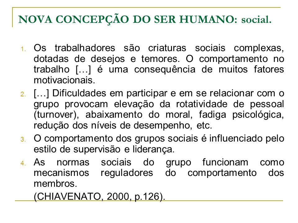 NOVA CONCEPÇÃO DO SER HUMANO: social. 1. Os trabalhadores são criaturas sociais complexas, dotadas de desejos e temores. O comportamento no trabalho [