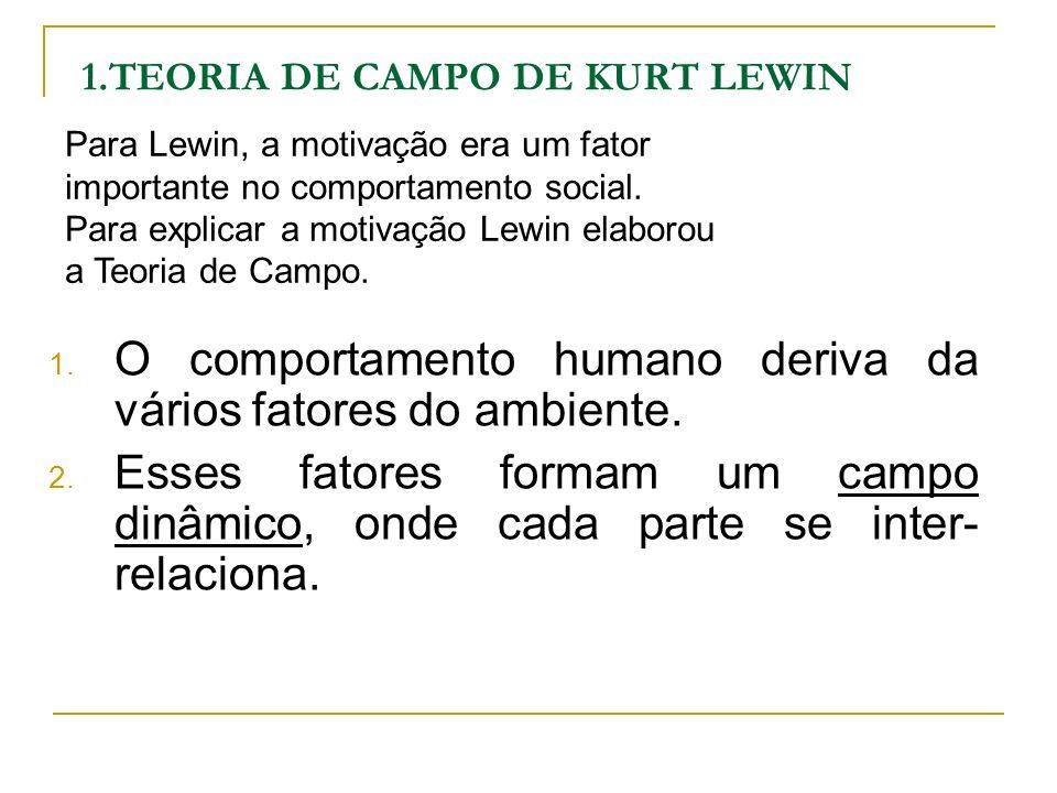1.TEORIA DE CAMPO DE KURT LEWIN Campo dinâmico é o espaço de vida que contém a pessoa e o seu ambiente psicológico.