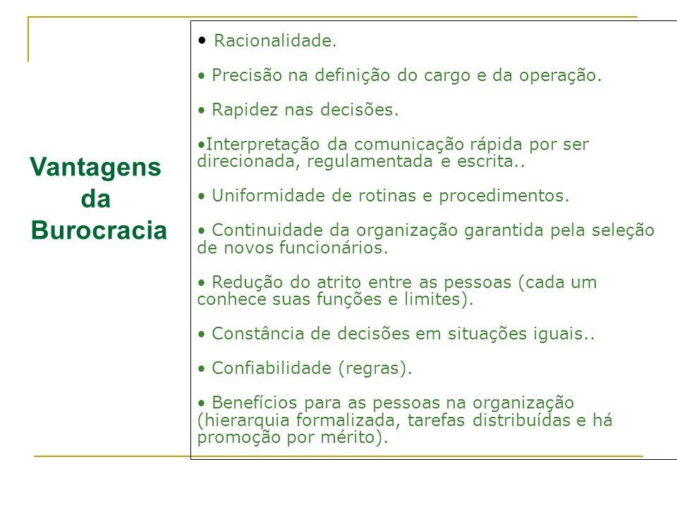 Vantagens da Burocracia Racionalidade. Precisão na definição do cargo e da operação. Rapidez nas decisões. Interpretação da comunicação rápida por ser